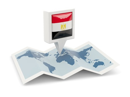 Square pin with flag of egypt on the map photo