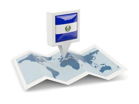 mapa de el salvador: Perno cuadrado con la bandera de El Salvador en el mapa Foto de archivo