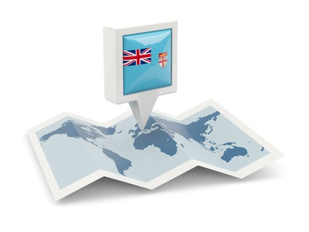fiji: Square pin with flag of fiji on the map Stock Photo