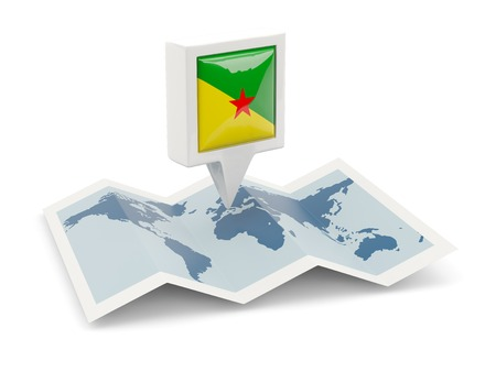 Square pin with flag of french guiana on the map photo