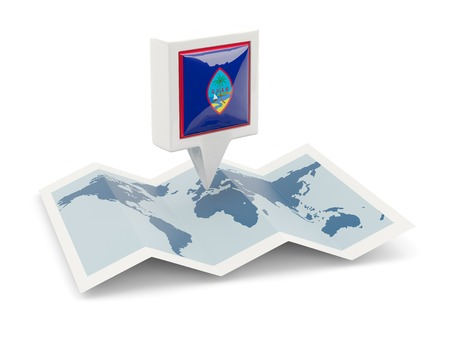 guam: Square pin with flag of guam on the map