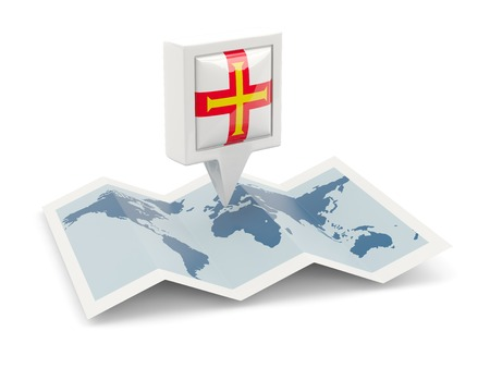 Square pin with flag of guernsey on the map photo