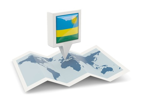 Square pin with flag of rwanda on the map photo