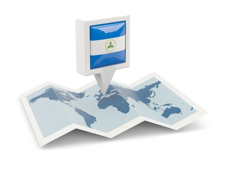 Square pin with flag of nicaragua on the map photo