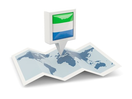 Square pin with flag of sierra leone on the map photo
