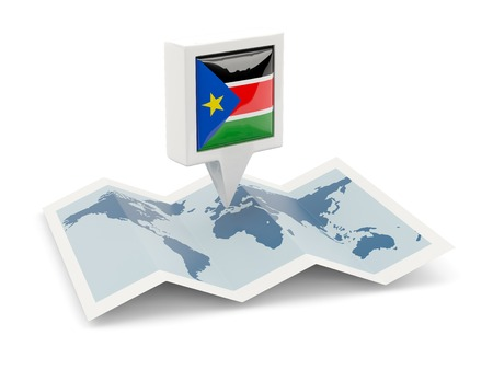 south sudan: Square pin with flag of south sudan on the map
