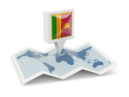 lanka: Square pin with flag of sri lanka on the map