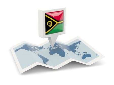 vanuatu: Square pin with flag of vanuatu on the map Stock Photo