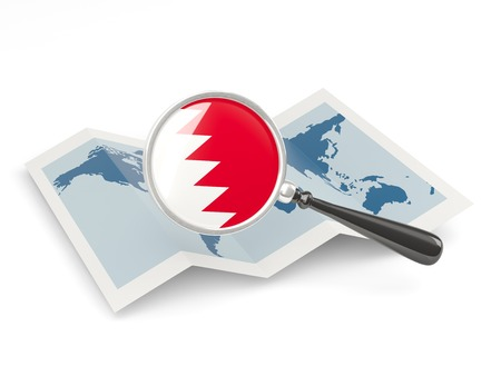 Magnified flag of bahrain with map isolate� on white photo