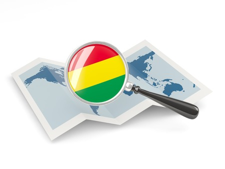 Magnified flag of bolivia with map isolated on white photo
