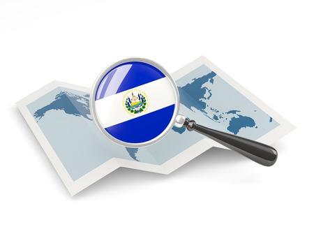mapa de el salvador: Bandera magnificado de El Salvador con el mapa aislado en blanco