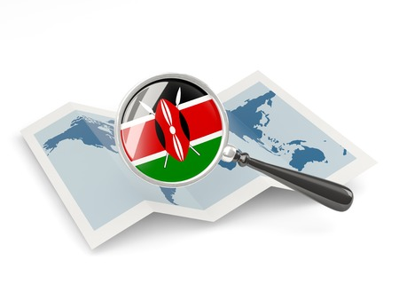 Magnified flag of kenya with map isolated on white photo