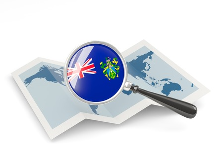 pitcairn: Magnified flag of pitcairn islands with map isolateâ on white