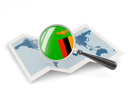 zambia: Magnified flag of zambia with map isolated on white
