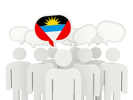 barbuda: People with flag of antigua and barbuda isolated on white