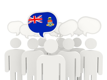 cayman islands: People with flag of cayman islands isolated on white