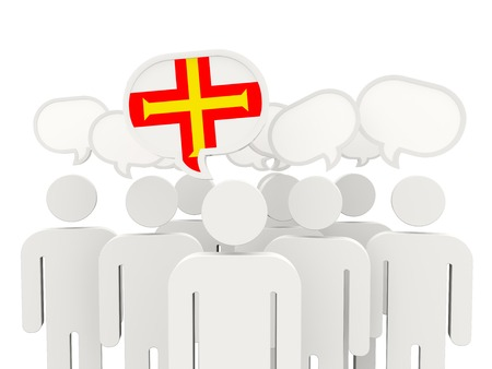 guernsey: People with flag of guernsey isolated on white