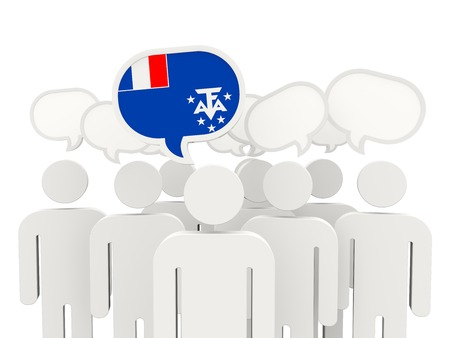 territories: People with flag of french southern territories isolated on white
