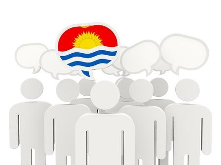 kiribati: People with flag of kiribati isolated on white Stock Photo