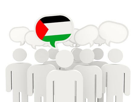 palestinian: People with flag of palestinian territory isolated on white
