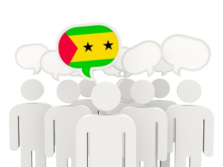 tome: People with flag of sao tome and principe isolated on white Stock Photo