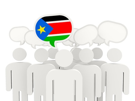 south sudan: People with flag of south sudan isolated on white