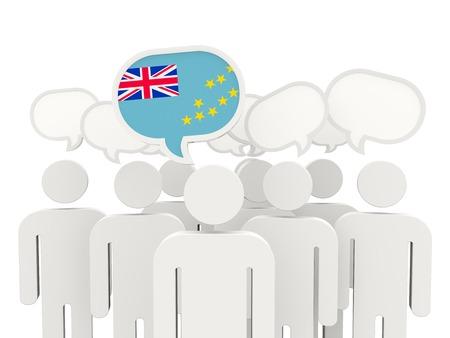 tuvalu: People with flag of tuvalu isolated on white