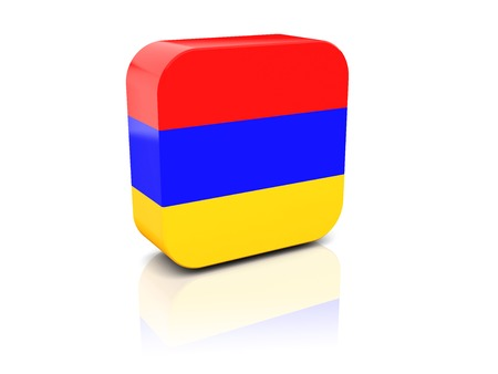 Square icon with flag of armenia with reflection photo