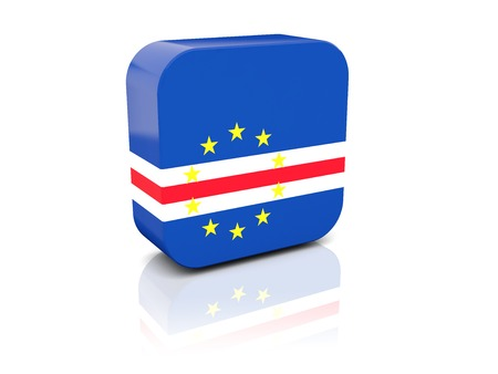 cape verde flag: Square icon with flag of cape verde with reflection