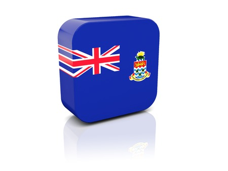 cayman islands: Square icon with flag of cayman islands with reflection Stock Photo