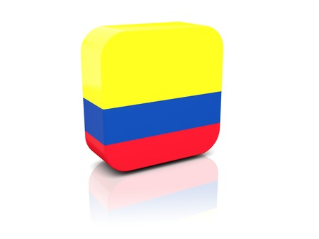Square icon with flag of colombia with reflection photo