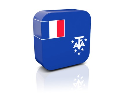 territories: Square icon with flag of french southern territories with reflection