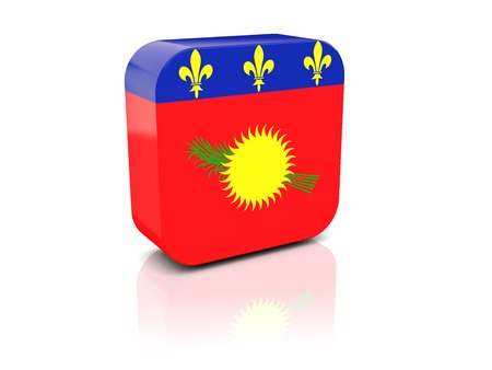 guadeloupe: Square icon with flag of guadeloupe with reflection