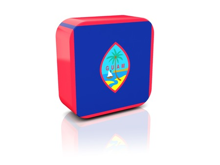 guam: Square icon with flag of guam with reflection Stock Photo