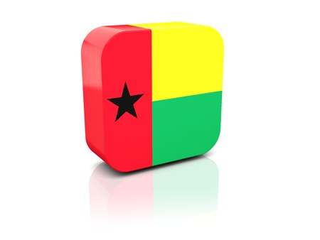 guinea bissau: Square icon with flag of guinea bissau with reflection Stock Photo