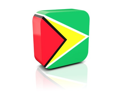 guyana: Square icon with flag of guyana with reflection