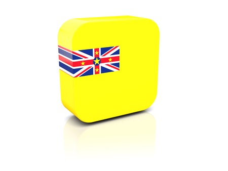 niue: Square icon with flag of niue with reflection