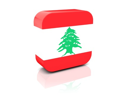 Square icon with flag of lebanon with reflection photo
