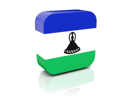lesotho: Square icon with flag of lesotho with reflection Stock Photo