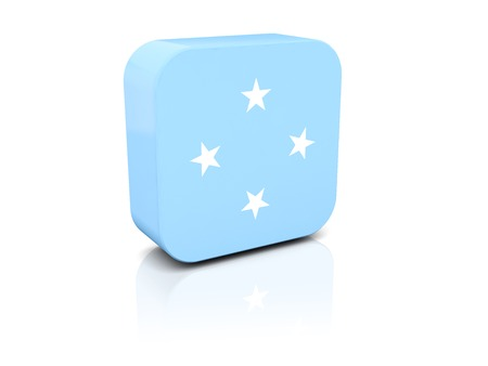 micronesia: Square icon with flag of micronesia with reflection