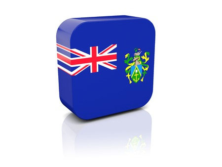 pitcairn: Square icon with flag of pitcairn islands with reflection