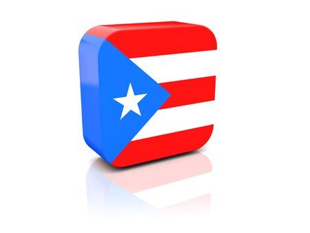bandera de puerto rico: Cuadrado del icono con la bandera de Puerto Rico con la reflexi�n Foto de archivo