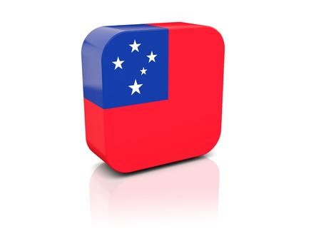 samoa: Square icon with flag of samoa with reflection