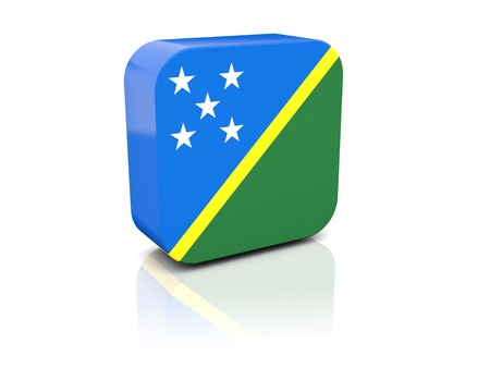 solomon: Square icon with flag of solomon islands with reflection Stock Photo