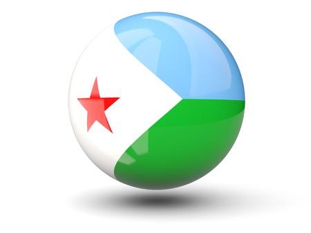 Round icon of flag of djibouti isolated on white