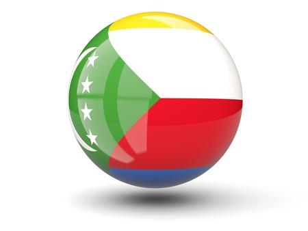 comoros: Round icon of flag of comoros isolated on white