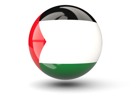 palestinian: Round icon of flag of palestinian territory isolated on white Stock Photo