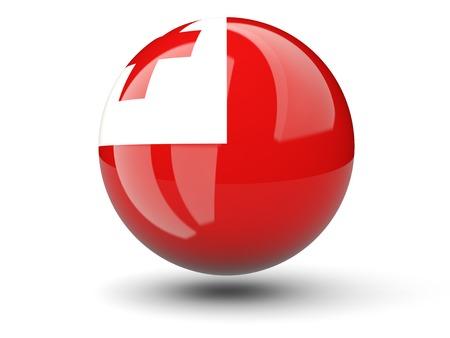 tonga: Round icon of flag of tonga isolated on white Stock Photo