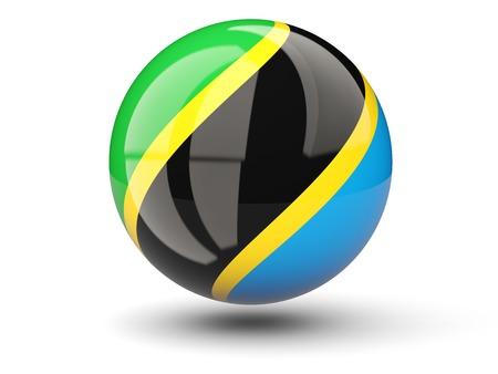 Round icon of flag of tanzania isolated on white photo