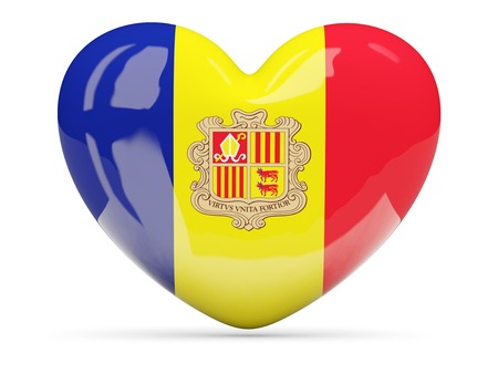 andorra: Heart shaped icon with flag of andorra isolated on white Stock Photo